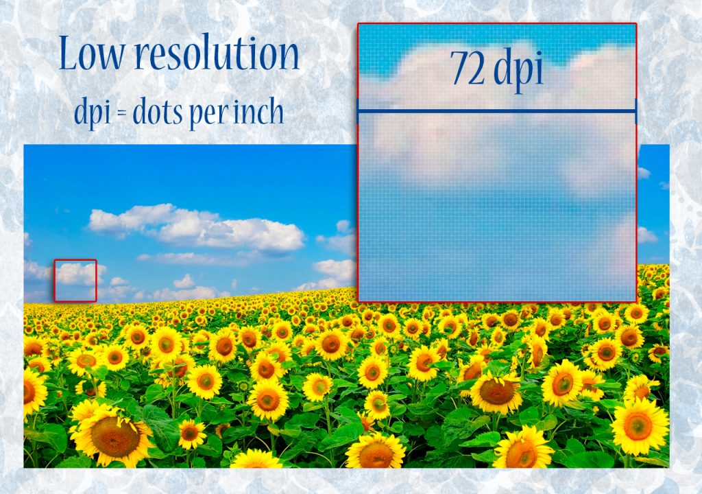 Low resolution 72 dpi, ideal to support digital.