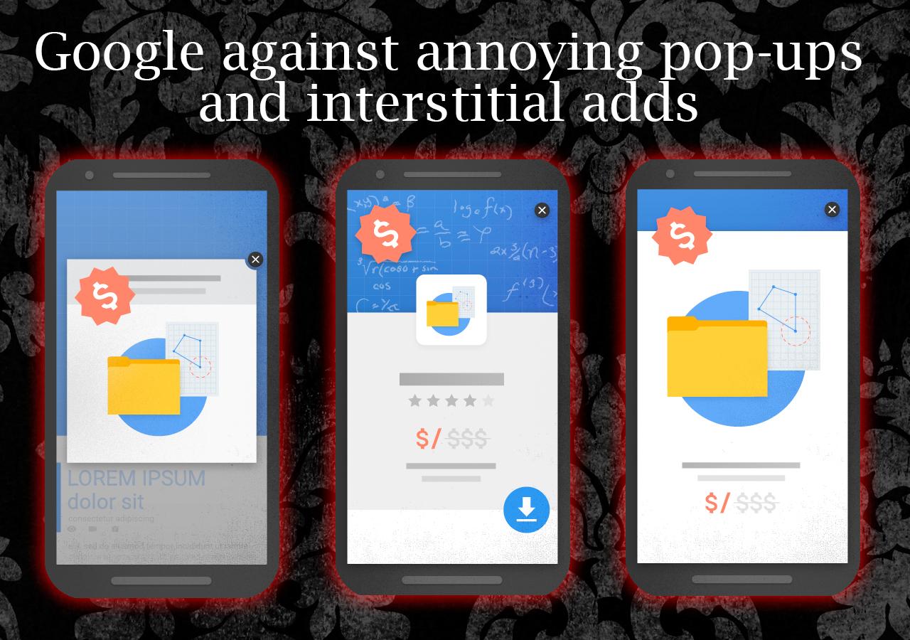 Google against annoying pop-ups