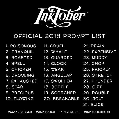 Inktober 2018 - Lista de temas